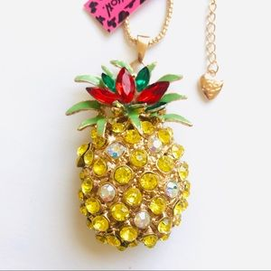 HUGE Yellow Crystal Pineapple Necklace
